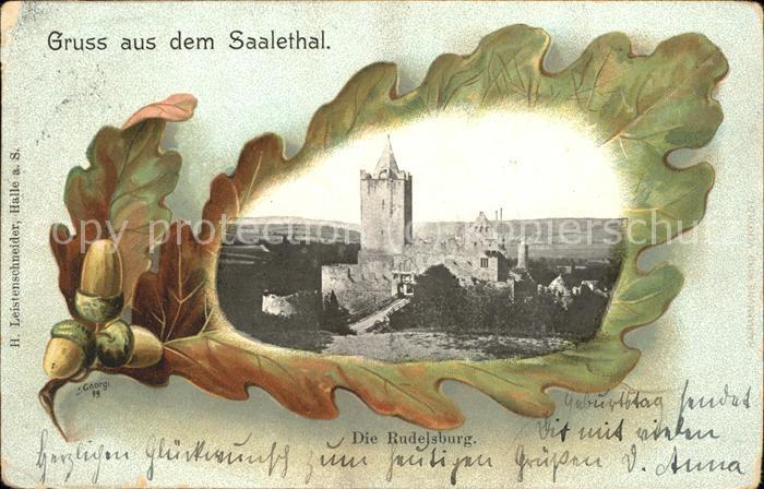 Eichenblattkarte Saalethal Rudelsburg  Kat. Rahmenkarte