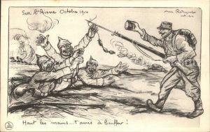 Militaria Humor Soldaten Aisne Wurst Kuenstlerkarte WK1 / Humor /