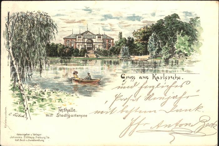 Liebich C. Karlsruhe Festhalle Stadtgartensee  / Kuenstlerlitho /
