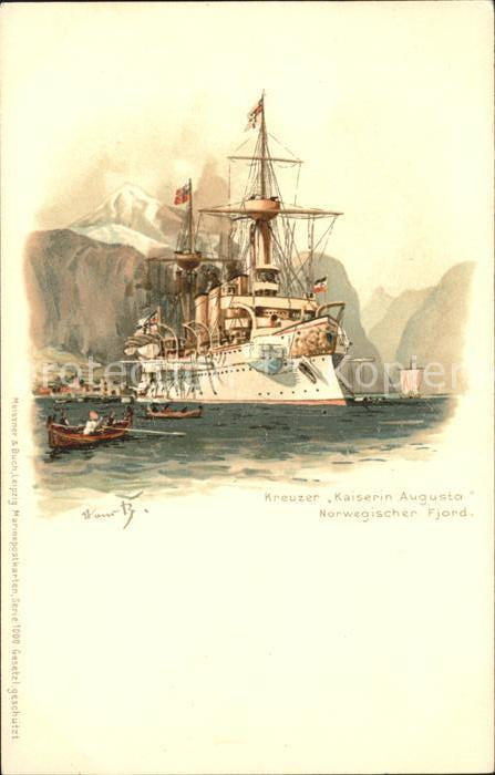 Marine Kreuzer Kaiserin Augusta Litho / Schiffe /