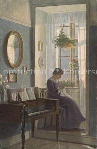 Kuenstlerkarte Alfred Broge Im Erker Handarbeit naehen Klavier Daenische Kunst Kat. Kuenstlerkarte