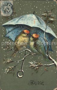 Voegel Regenschirm Schnee Amitie Freundschaft Kat. Tiere