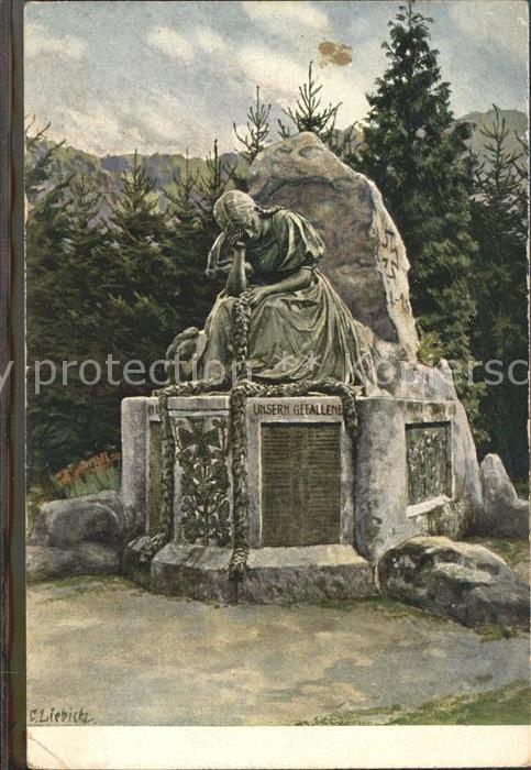 Liebich C. Kriegsgefallenen Denkmal Gutach Schwarzwaldbahn Kat. Kuenstlerlitho