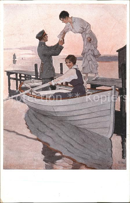 Wennerberg Brynolf Kriegspostkarte Nr. 12 Heimaturlaub Soldat Frauen Boot  Kat. Kuenstlerkarte