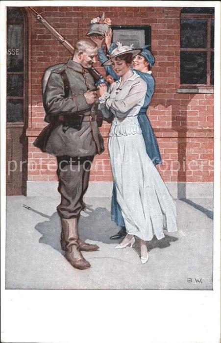 Wennerberg Brynolf Kriegspostkarte Nr. 8 Vor der Abfahrt Soldat Kat. Kuenstlerkarte