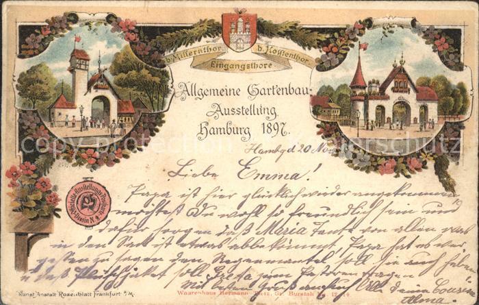 Gartenbauaustellung Hamburg 1897 Millerntor Eingangstore Litho Blumen Kat. Expositions