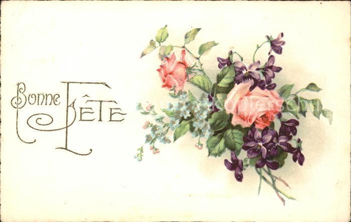 Rosen Veilchen Vergissmeinnicht Litho Bonne Fete Kat. Pflanzen