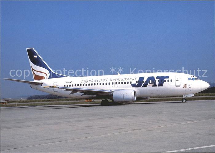 Flugzeuge Zivil JAT Jugoslovenski Aerotransport B 737 3H9 YU ANF c n 23330 Kat. Flug