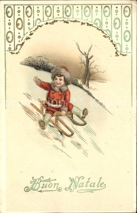 Schlitten Schnee Kind Wintermode Weihnachten Litho Kat. Sport 0