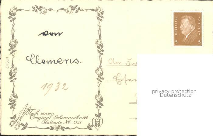 Scherenschnitt Schattenbildkarte Hugo Kocher Nr 5131 Muttertag Kinder Blumen Gedicht Besonderheiten