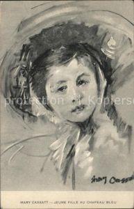 Kuenstlerkarte Jeune Fille au chapeau bleu Hutmode Kat. Kuenstlerkarte