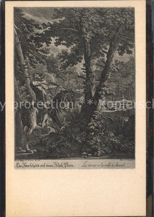 Kuenstlerkarte nach einem Kupferstich Johann Elias Ridinger Ein Federschuetze auf einem Schiesspferde / Kuenstlerkarte /
