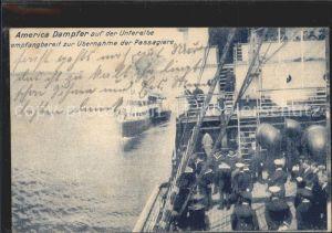ka83390 Matrosen America Dampfer Unterelbe Empfang Passagiere  Kat. Schiffe