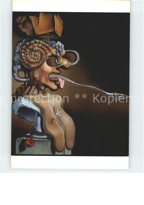 Kuenstlerkarte Salvador Dali Retrat de Picasso Gloria del Sol 1947 Kat. Kuenstlerkarte
