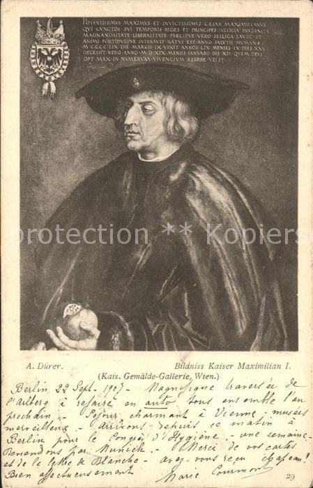 Duerer Albrecht Nuernberg Bildnis Kaiser Maximilian I.  Kat. Kuenstlerkarte