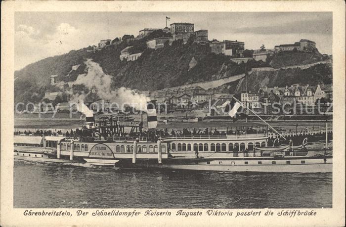 Dampfer Seitenrad Kaiserin Auguste Viktoria Ehrenbreitstein  Kat. Schiffe