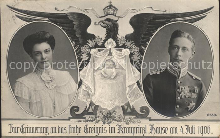 Adel Preussen Kronprinzessin Cecilie Kronprinz Wilhelm Geburt Prinz Wilhelm  Kat. Koenigshaeuser