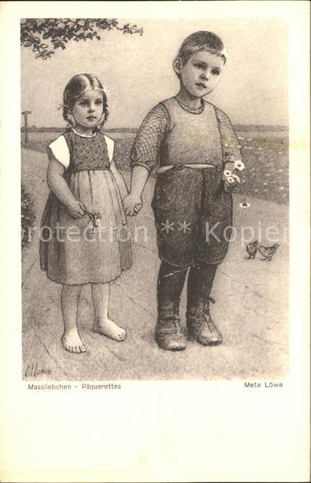 Loewe Meta Massliebchen Paquerettes Nr. 64 Kinder  Kat. Kuenstlerkarte