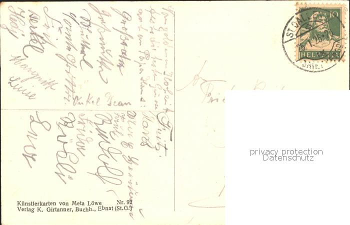 Loewe Meta Waldvoegelein Nr. 92 Engel Reh Kind  Kat. Kuenstlerkarte 1