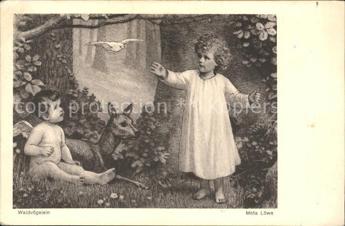 Loewe Meta Waldvoegelein Nr. 92 Engel Reh Kind  Kat. Kuenstlerkarte 0