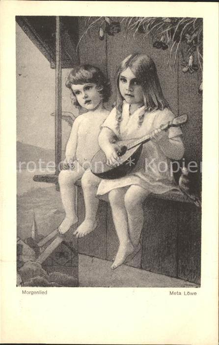 Loewe Meta Morgenlied Nr. 3 Kind Mandoline Engel Vogel  Kat. Kuenstlerkarte