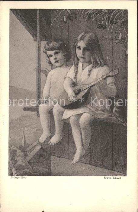 Loewe Meta Morgenlied Nr. 3 Kind Mandoline Vogel Engel Kat. Kuenstlerkarte