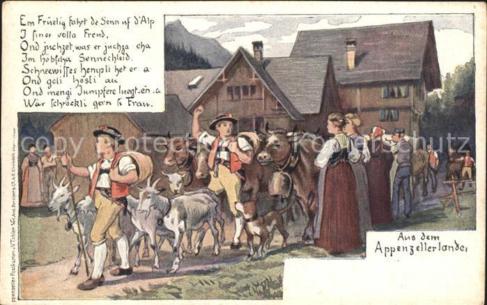 Tobler Viktor Vt Appenzellerland Senn Alp Kuehe Ziegen Gedicht Kat Kuenstlerkarte Schweiz