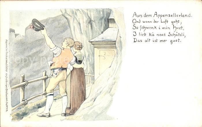 Tobler Viktor V.T. Appenzellerland Paar Hut  Kat. Kuenstlerkarte Schweiz