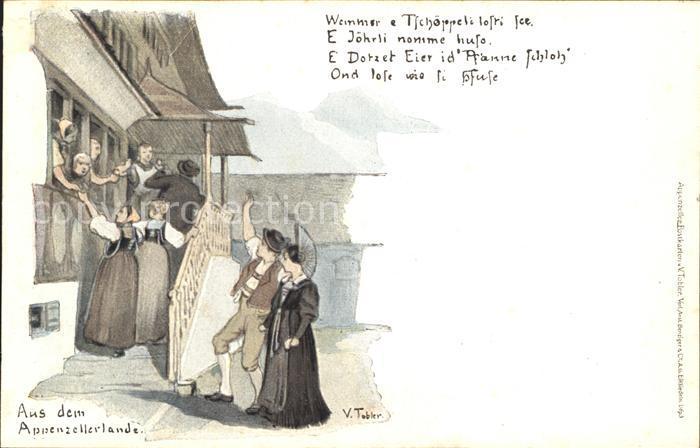 Tobler Viktor V.T. Appenzellerland Trachten Gedicht  Kat. Kuenstlerkarte Schweiz