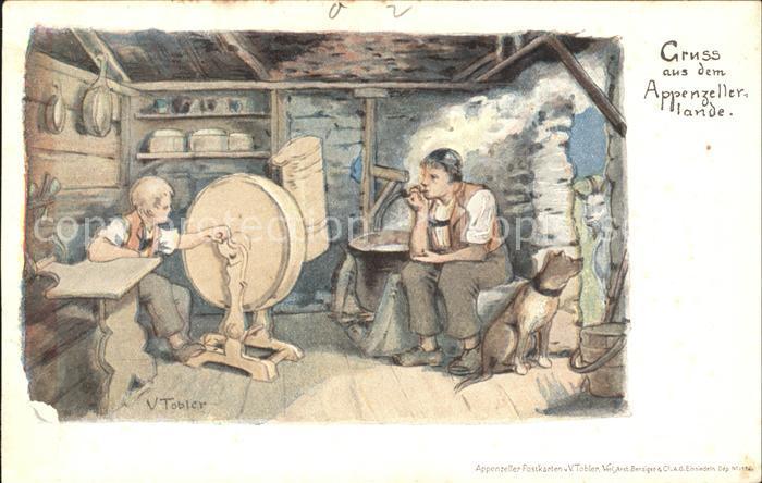 Tobler Viktor V.T. Appenzellerland Sennerei Hund  Kat. Kuenstlerkarte Schweiz
