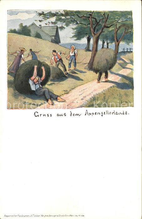 Tobler Viktor V.T. Appenzellerland Landwirtschaft Heuernte Kat. Kuenstlerkarte Schweiz