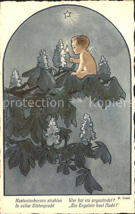 Goetz M. Nr. 302 Kastanienbaum Engel Flamme Streichholz Stern Kat. Kuenstlerkarte
