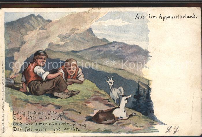 Tobler Viktor V.T. Appenzellerland Sennbuben Ziegen Gedicht  Kat. Kuenstlerkarte Schweiz