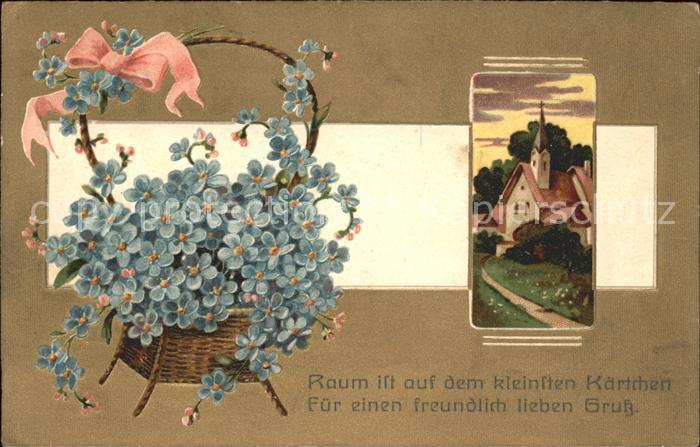 Blumen Vergissmeinnicht Korb Schleife Kirche  Kat. Pflanzen