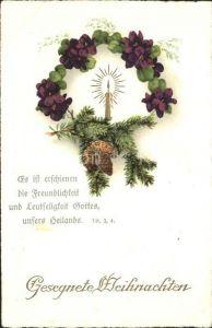 Weihnachten Kerze Tannenzapfen Veilchen Litho Kat. Greetings