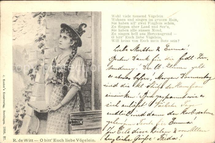Kuenstlerkarte R. de Witt O bitt Euch liebe Voegelein Gedicht Frau Tracht Kat. Kuenstlerkarte