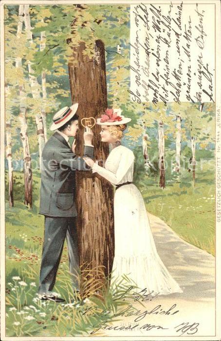 Kuenstlerkarte Ulrich Weber Paar Hutmode Buchstaben Baum ritzen Litho Kat. Kuenstlerkarte