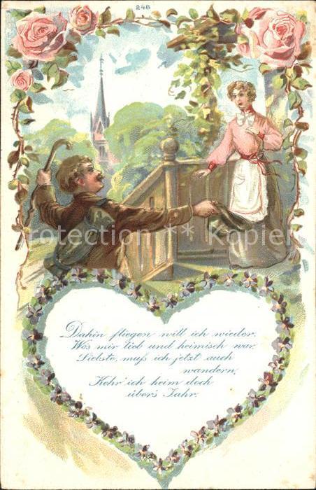 Rosen Paar Wiedersehen Gedicht Herz Litho Kat. Pflanzen