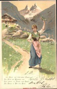 Gruss aus den Bergen Frau Tracht Gedicht Litho Kat. Greetings