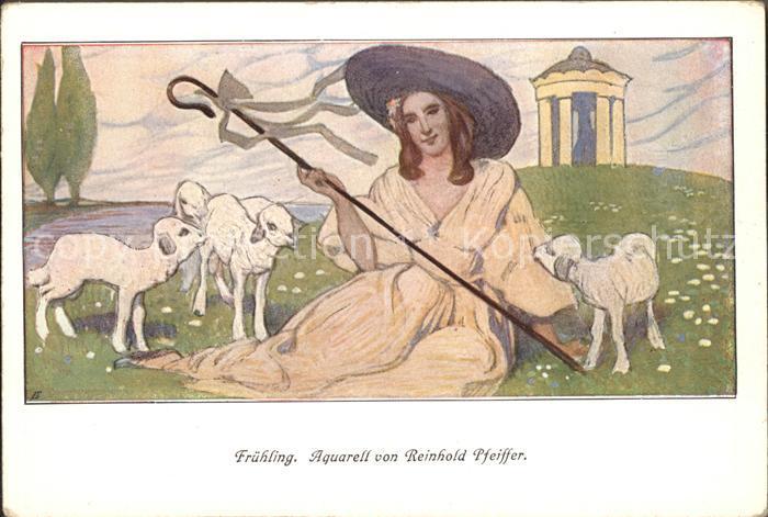 Kuenstlerkarte Aquarell Reinhold Pfeiffer Fruehling Velhagen und Klasing Monatshefte Frau Laemmer  Kat. Kuenstlerkarte