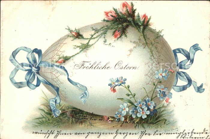Ostern Easter Paques Vergissmeinnicht Schleife Litho / Greetings /