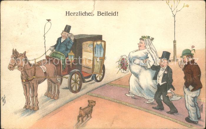 Pferdekutschen Hochzeit Humor Hund Zylinder  Kat. Tiere