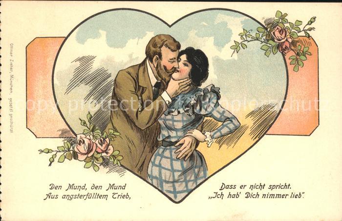Poesie Gedicht Paar Kuss Herz Rosen Litho Kat. Poesie