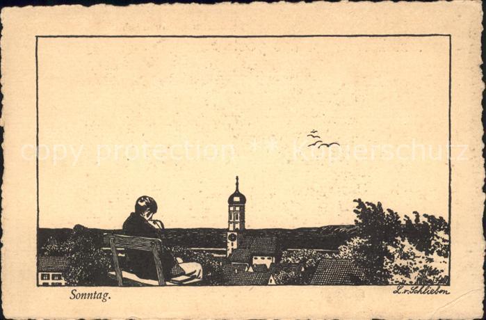 Verlag Ackermann Kuenstlerpostkarte Nr. 1330 L. von Schlieben Sonntag Kat. Verlage