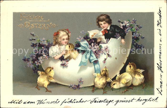 Ostern Easter Paques Kinder Kueken Ei Veilchen Litho / Greetings /