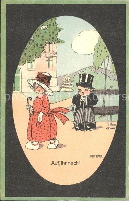 Kuenstlerkarte Anny Tekauz Kinder Hutmode  Kat. Kuenstlerkarte