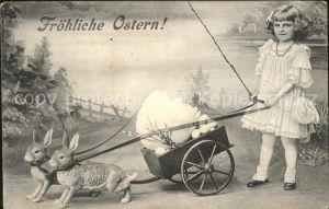 Ostern Easter Paques Hasen Wagen Kind Eier Weidenkaetzchen / Greetings /