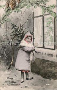 Weihnachten Kind Wintermode Tannenzapfen  Kat. Greetings