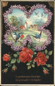 Rosen Veilchen Kleeblatt Schwalben Litho Kat. Pflanzen