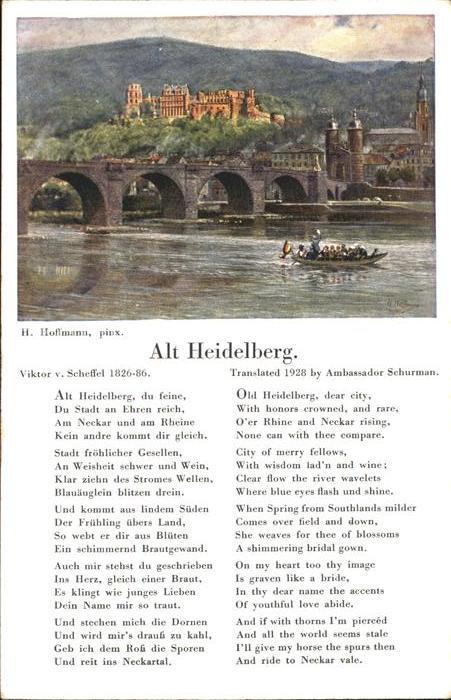 Hoffmann Heinrich Alt Heidelberg Gedicht Viktor V Scheffel Kat Kuenstlerkarte